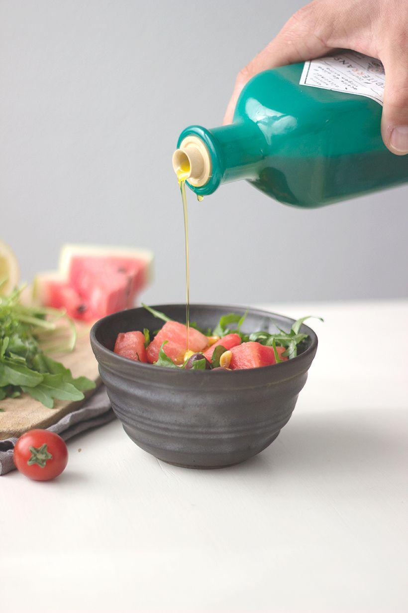 Veganer-Wassermelonensalat-mit-Rucola