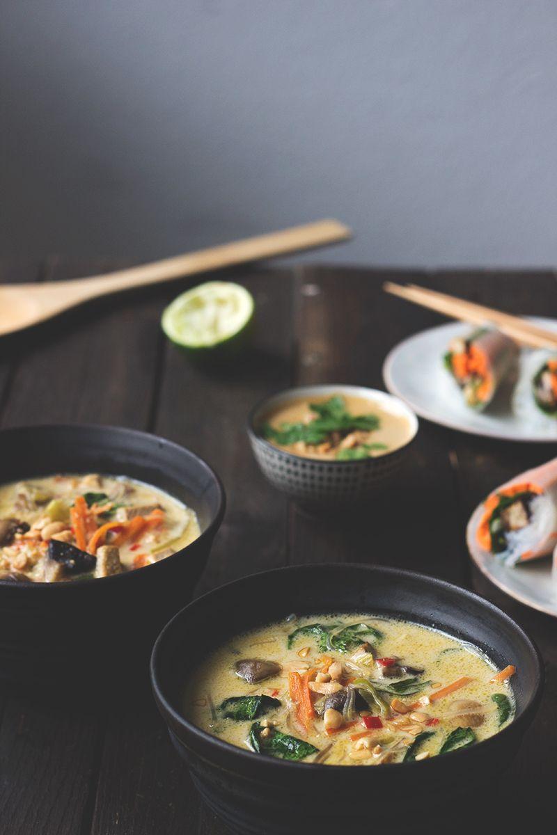 Thailändische Kokossuppe, veganes Rezept.
