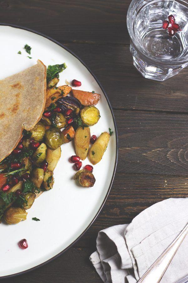 Rezept für Buchweizen Pfannkuchen mit Ofengemüse. Vegan und glutenfrei