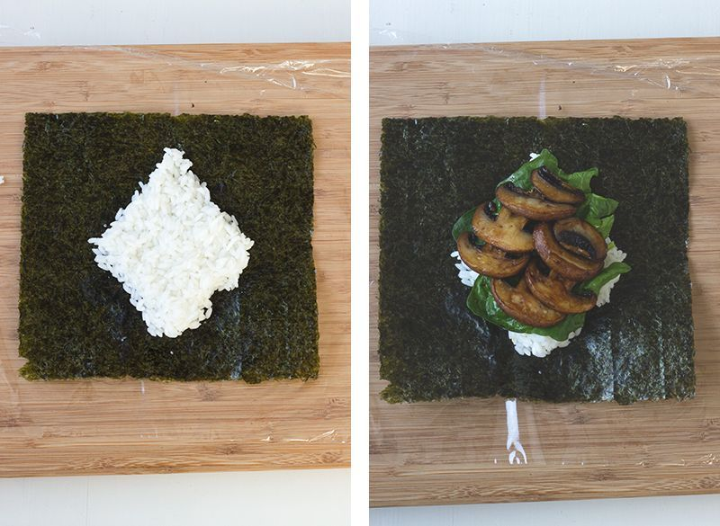 Schritt für Schritt Anleitung für Onigirazu, japanische Sushi Sandwiches