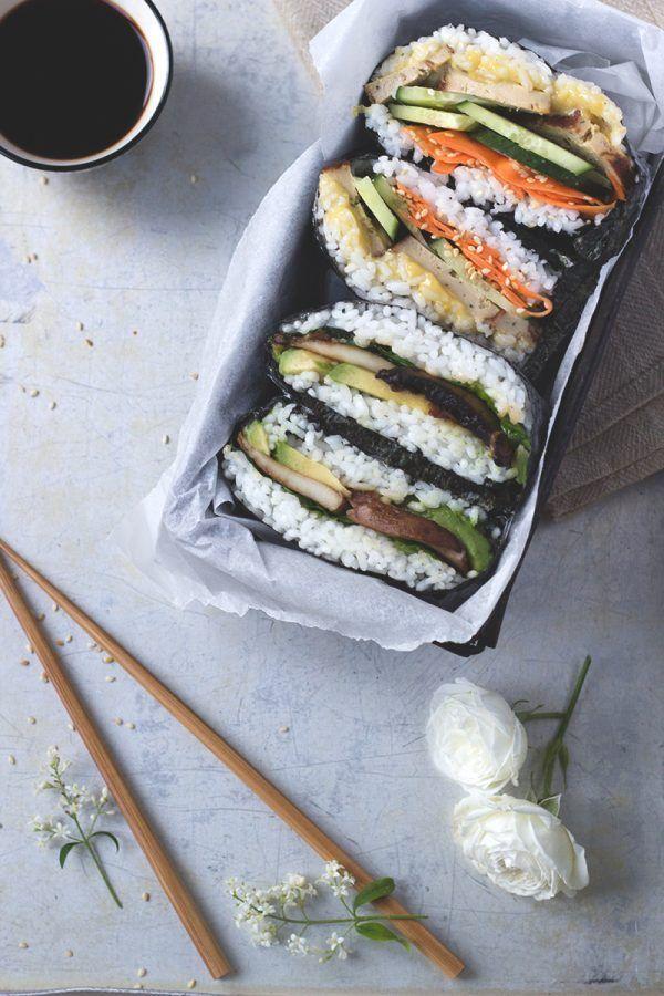 Onigirazu - japanisches Sushi Sandwich. Vegan und Glutenfrei