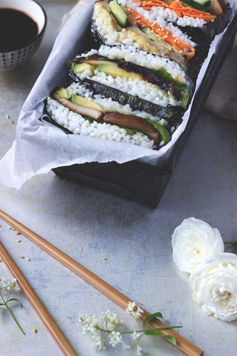 Onigirazu, japanische Sushi Sandwiches. Veganes und glutenfreies Rezept