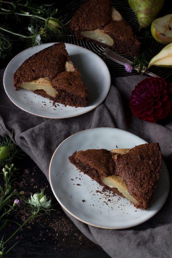 Rezept für Schoko-Birnen-Kuchen - glutenfrei backen