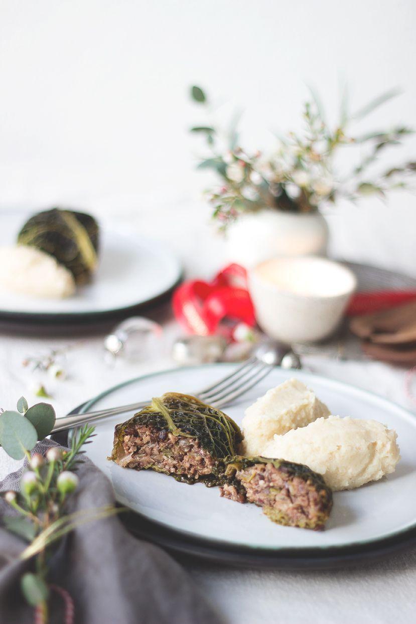 Kohlrouladen mit Linsen-Nuss-Füllung. Vegane und vegetarische Kohlrouladen