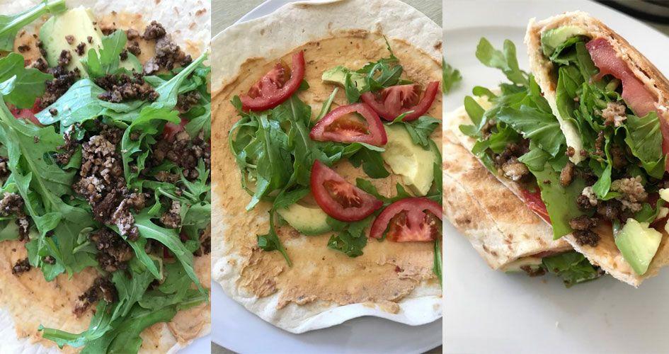 Sieht nicht vegan aus - ist es aber. Unser super leckerer Veggie-Wrap mit Sojahack, Rucola, Hummus, Tomaten und Avocado.