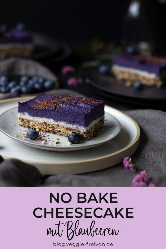 Veganer und glutenfreier No Bake Cheesecake mit Blaubeeren - Rezept Kühlschrankkuchen