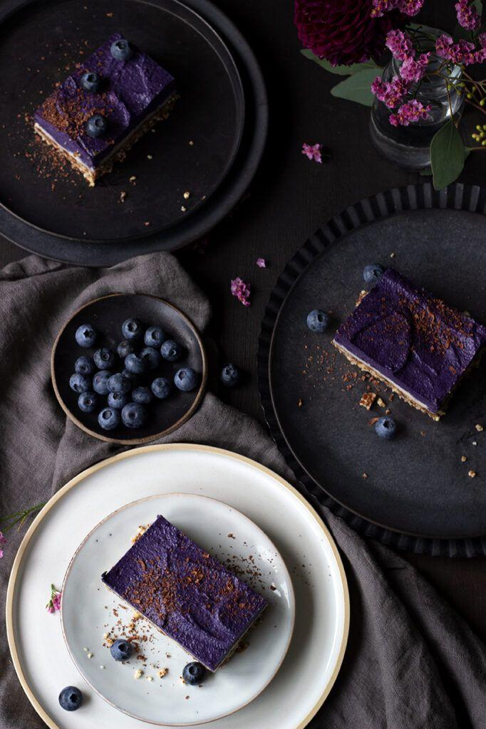 No Bake Cheesecake mit Blaubeeren, vegan und glutenfrei.